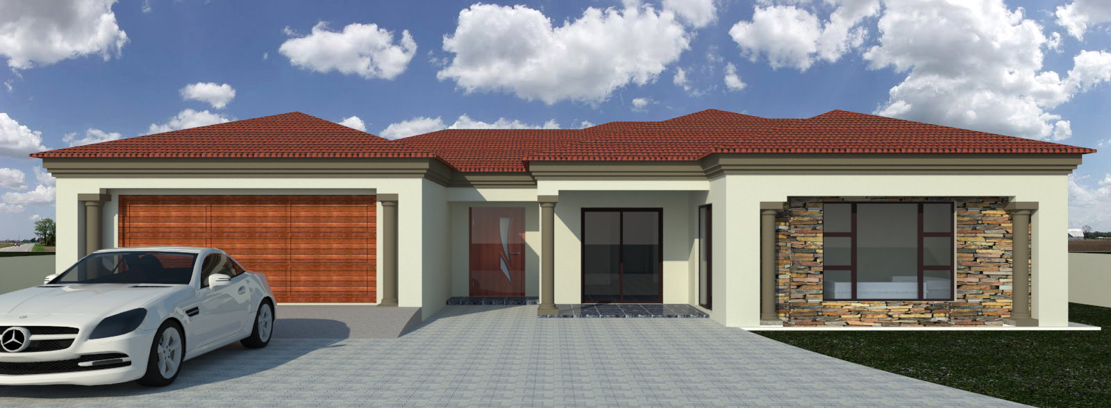 Single storey home with roof top rooms design.