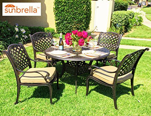 Coastlink Nevada 5 Piece Cast Aluminum Patio Dining Set With Premium  SUNBRELLA Cushions (4 Armchairs, Sesame)
