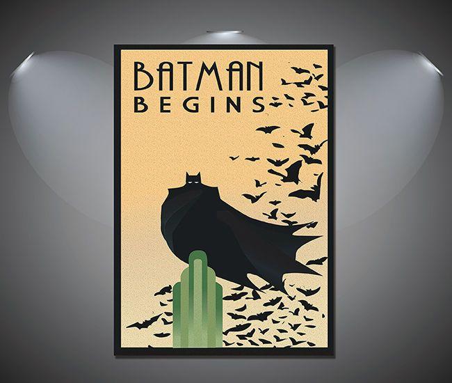 BATMAN BEGINS VINTAGE MOVIE POSTER  FILM A4 A3 ART PRINT CINEMA