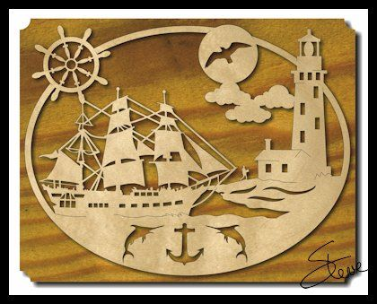 Nautical Ship And Lighthouse Scroll Saw Pattern Scroll Saw Custom Scroll Saw Patterns