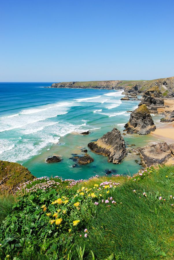 Bedruthan Steps, Cornwall   England (by Ian Percival).I want to go see this place one day. Please check out my website Thanks.  www.photopix.co.nz