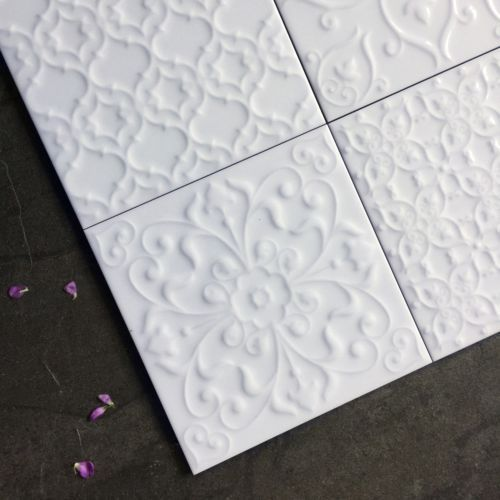 White victorian style raised pattern patchwork wall tiles SAMPLE 5226S    eBay