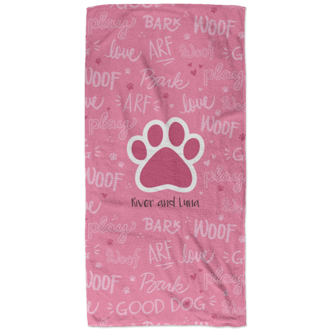 Good Dog Pink Personalized Beach Towel In 2020 Beach Towel Soft
