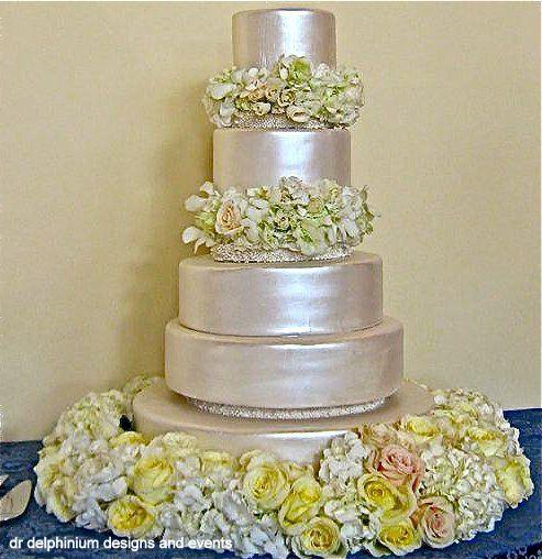Dr Delphinium Wedding Cake, Roses & Hydrangea