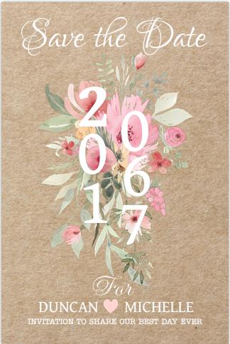 Bohemien chique save the date kaart. Met kraft ondergrond en bloemen in watercolour stijl. Geheel zelf aan te passen. Gratis verzending in Nederland en België.