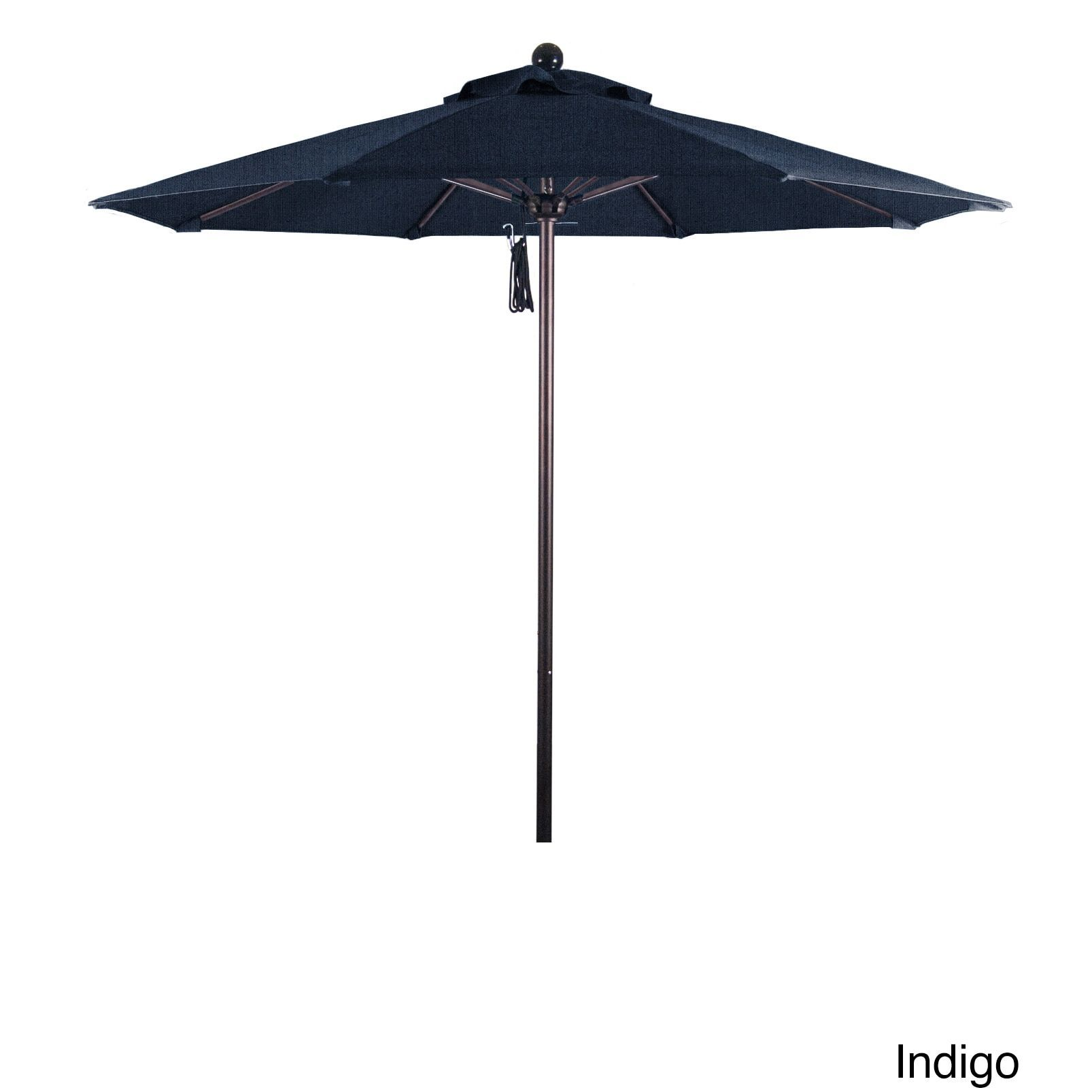 California Umbrella 7.5' Rd.. Frame, Fiberglass Rib Market Umbrella, Push Open, Bronze Finish, Sunbrella Fabric