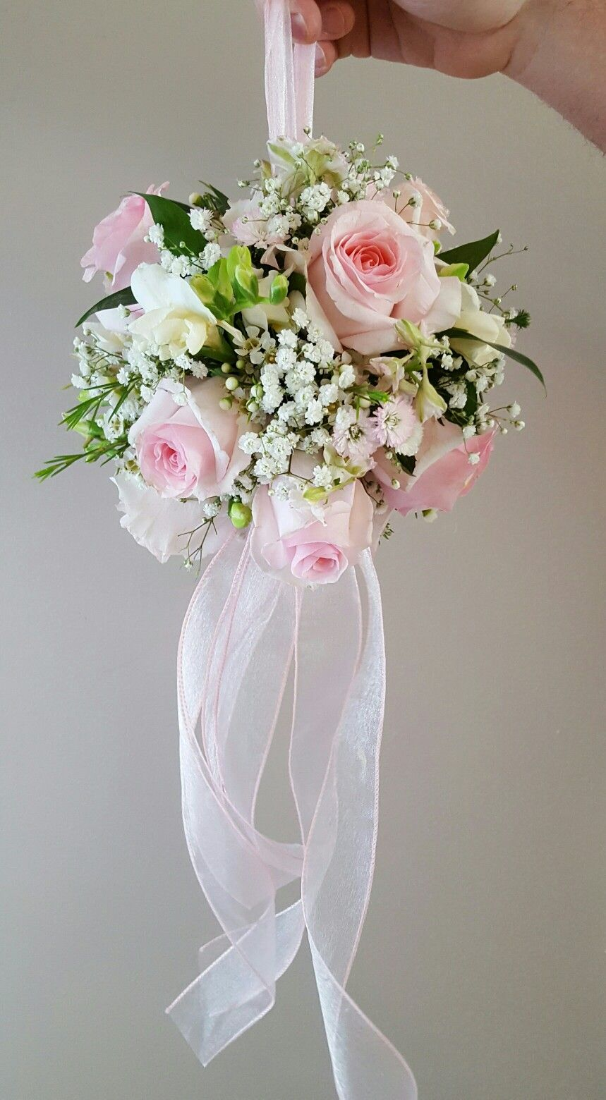 Pink And White Kissing Ball Made With Freesia Roses Babies Breath