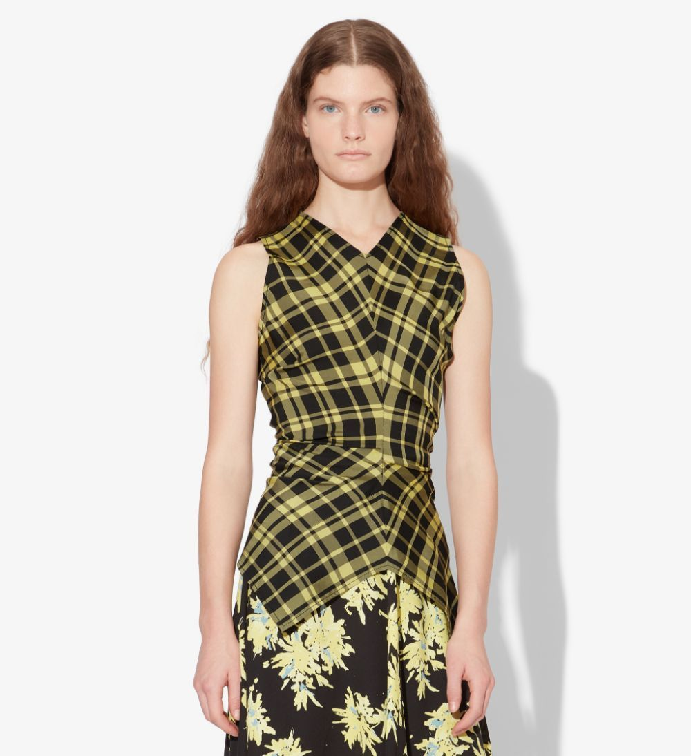 Black/faded Neon Yellow Gathered Sleeveless Top from Proenza Schouler.