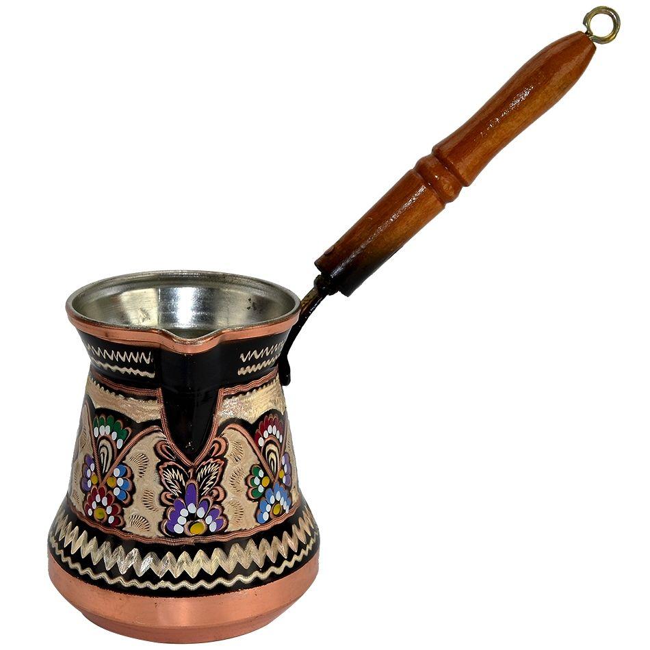 Decorated turkish coffee pot xl 26 oz wood coffee