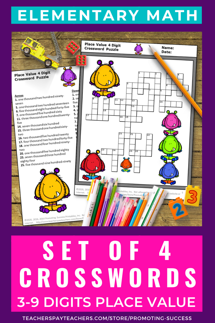 Place Value Activities Crossword Puzzle Worksheets Bundle 2nd 3rd 4th Grade Special Education Math Special Education Worksheets Elementary School Math [ 1102 x 735 Pixel ]