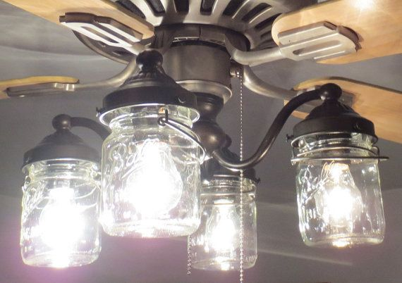 Mason Jar Ceiling Fan Light Kit With Vintage Pints Jars