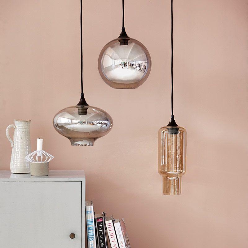 Lampe Ellipse grau grün mit Textilkabel von house doctor - wohnzimmer grau beige grun