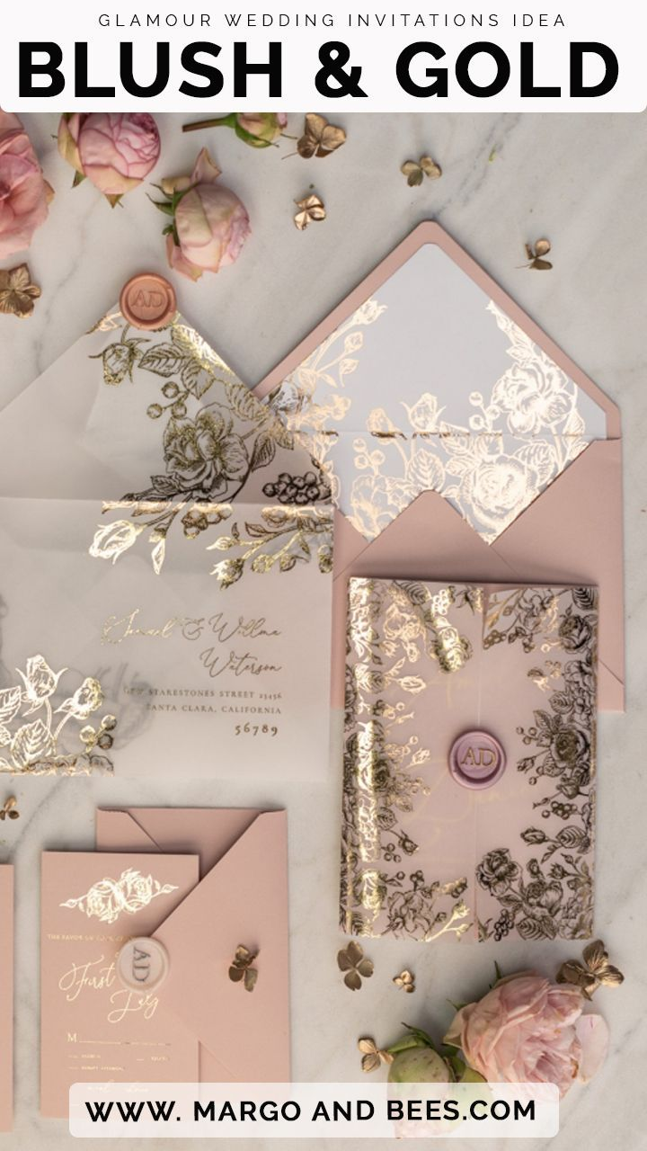 Blush and Gold Wedding Invitations #blushwedding #blushandgold #glamourin …