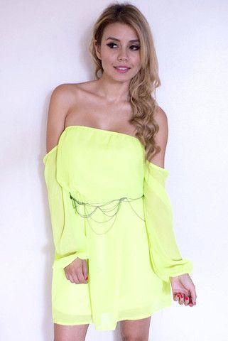 Off The Shoulder Chiffon Dress - Neon Yellow- FINAL SALE