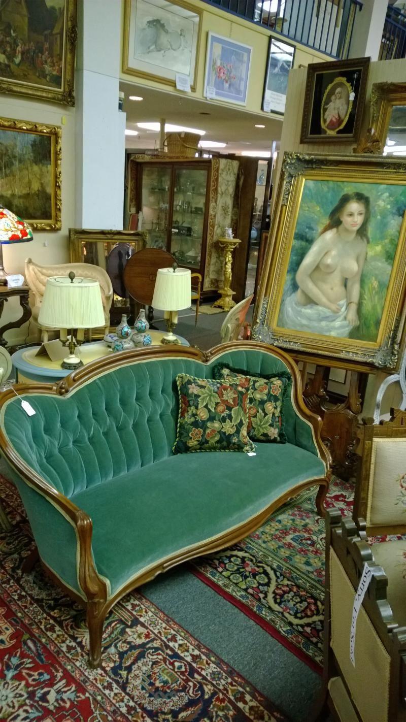 Green victorian sofa