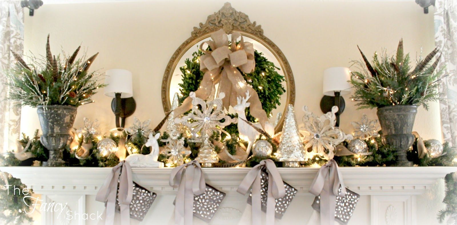 The Fancy Shack: Christmas Mantel  like the ribbon on the stockings