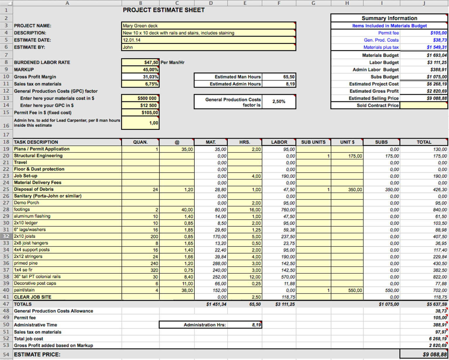 Construction Expenses Spreadsheet House Estimate Excel With Regard To Construction Cost Report Template Estimate Template Construction Cost Building Costs