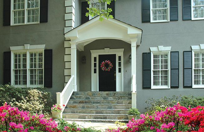 Portico With Wide Stairs For Stucco Home Designed By Georgia Front