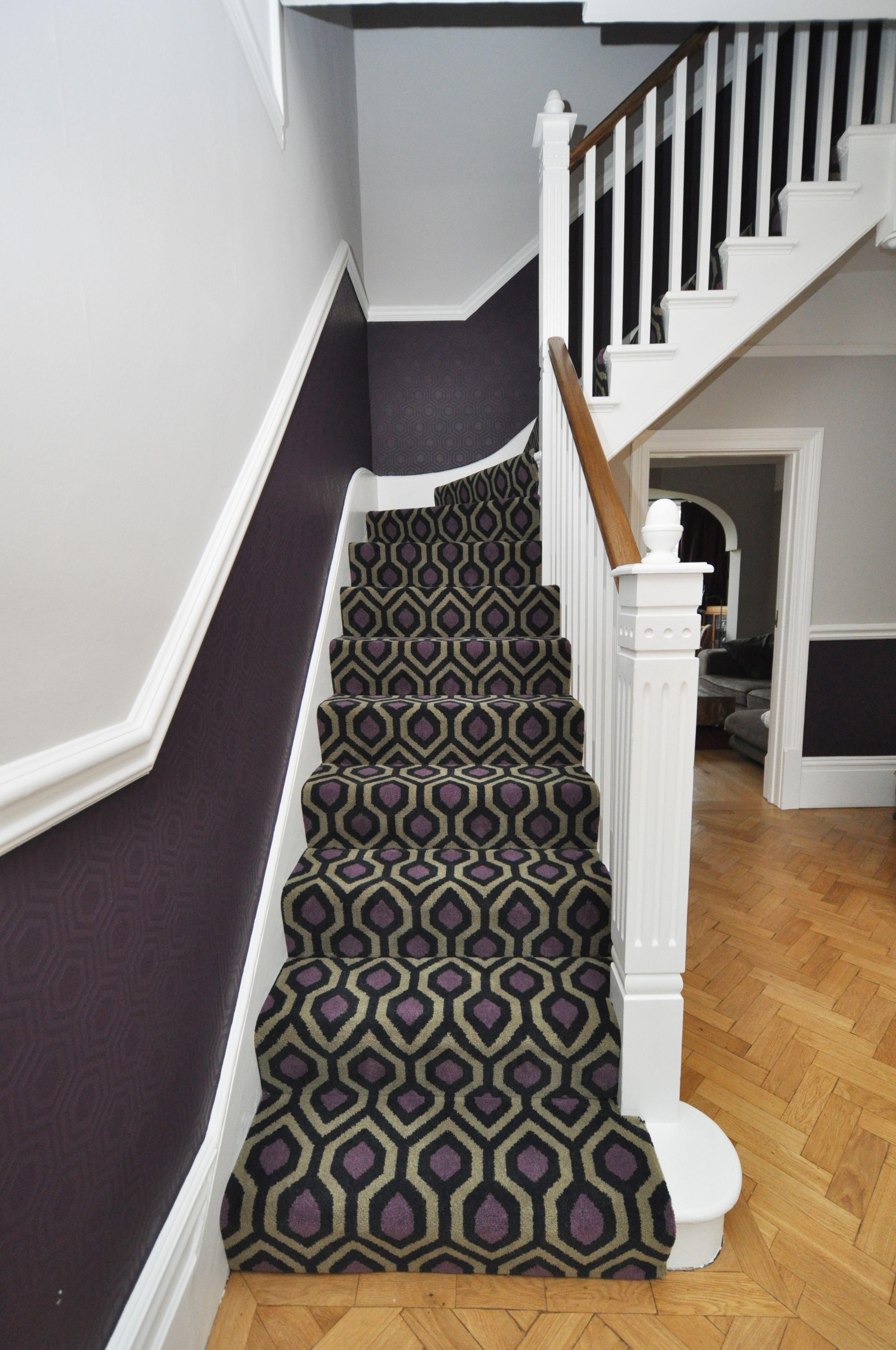 4 085 Geometric Carpet Bowloom Bespoke Geometric Carpet Fitted In Kent Geometric Carpet Carpet Fitting Stair Runner