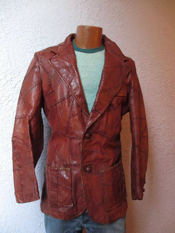 729dea2d2 Vintage Men's Hippie Patchwork Leather Jacket 42 by PaisleyBabylon ...