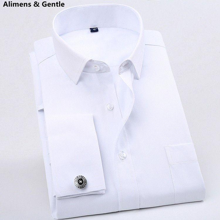 Camisa Dos Homens Vestido de luxo Francês Com CufflinksTuxedo Slim Fit Manga…