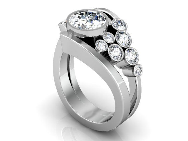 Custom Round Diamond Ring Round Brilliant Cut Diamond Engagement Ring Wholesa