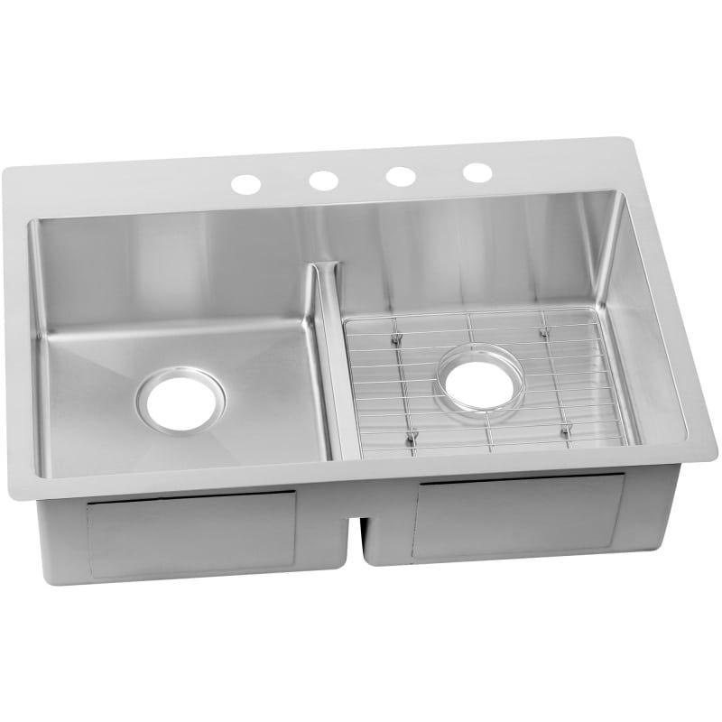 Elkay Ectsra33229bg Crosstown 33 Double Basin Dual Mount Sink Kit With Aqua Div 4 Faucet Holes Fixture Kitchen Sink Stainless Steel Double Basin Sink Elkay