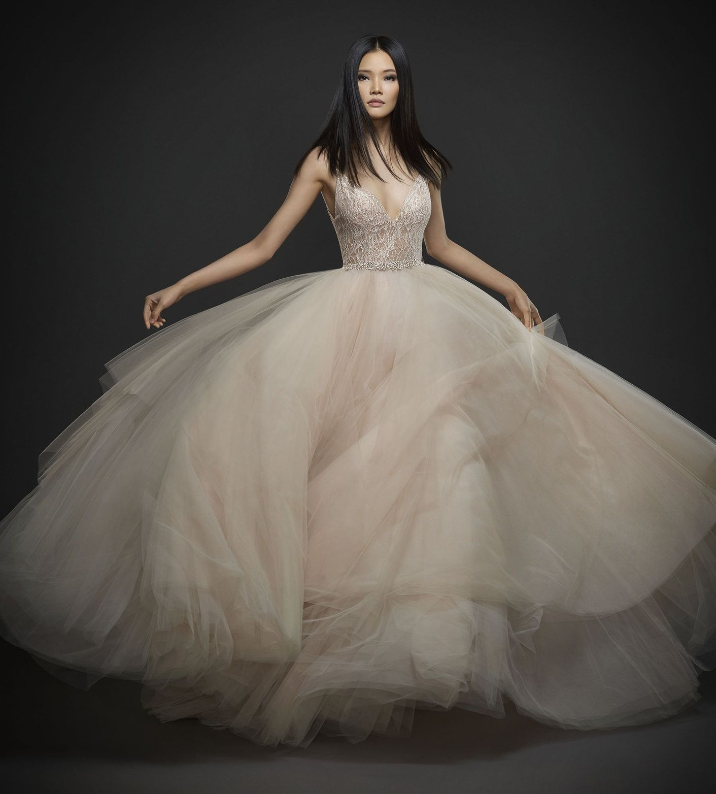 Blush shimmer tulle bridal ball gown strapless sweetheart