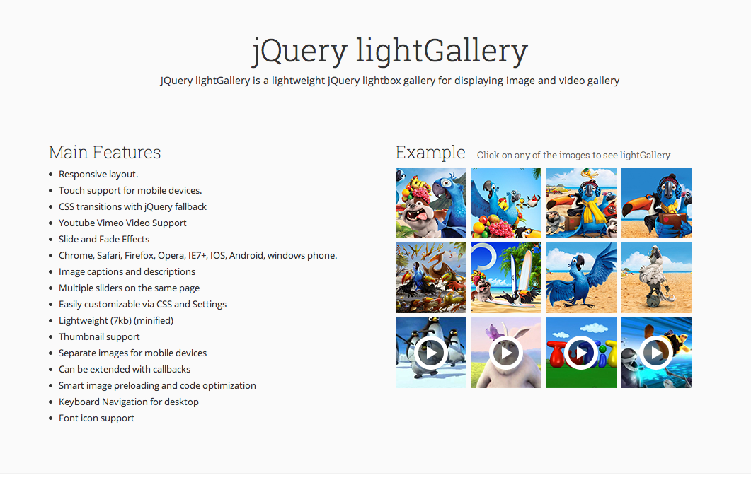 JQuery lightGallery is a lightweight jQuery lightbox gallery for