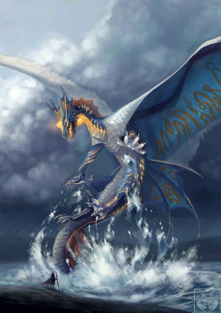 水面から飛び出してくるドラゴンの壁紙