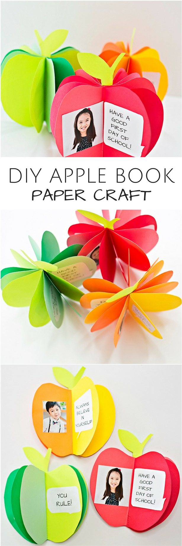 diy 3d apple book paper craft. cute back to school craft for kids or