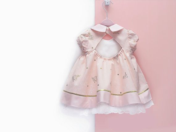 First Birthday Dress Rose Gold Baby Dress And Bloomers In Vintage