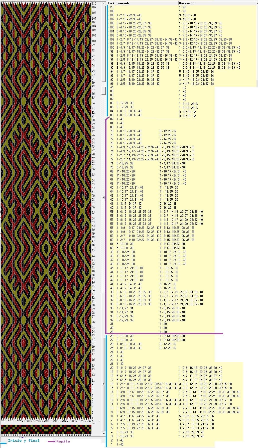 40 tarjetas, 3 colores, 28 movimientos de inicio y final, repite secuencia de 54 movimientos // sed_382 diseñado en GTT༺❁