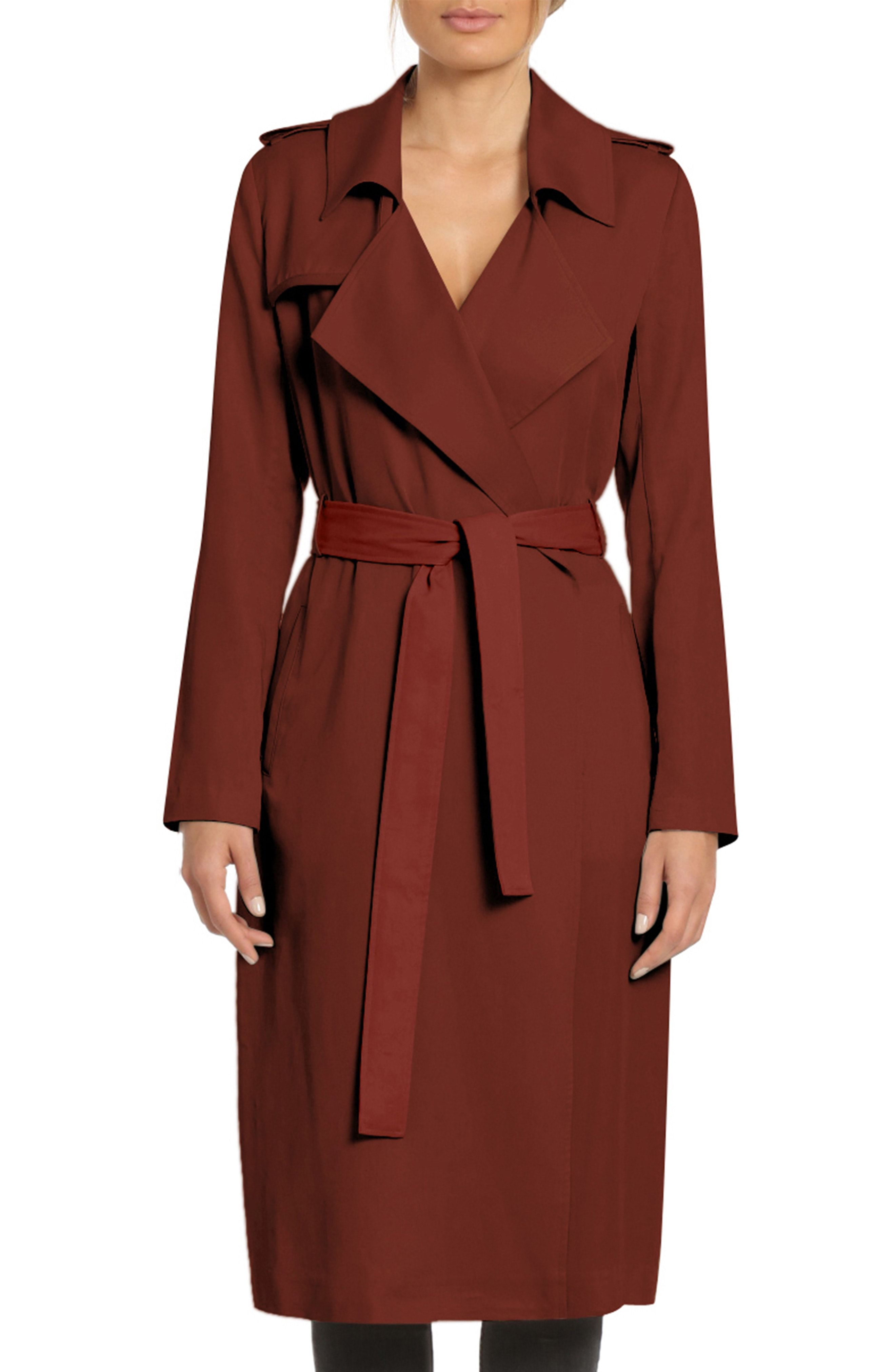 d1a221eca50 (Sand) Badgley Mischka Collection Badgley Mischka Faux Leather Trim Long  Trench Coat available at #Nordstrom