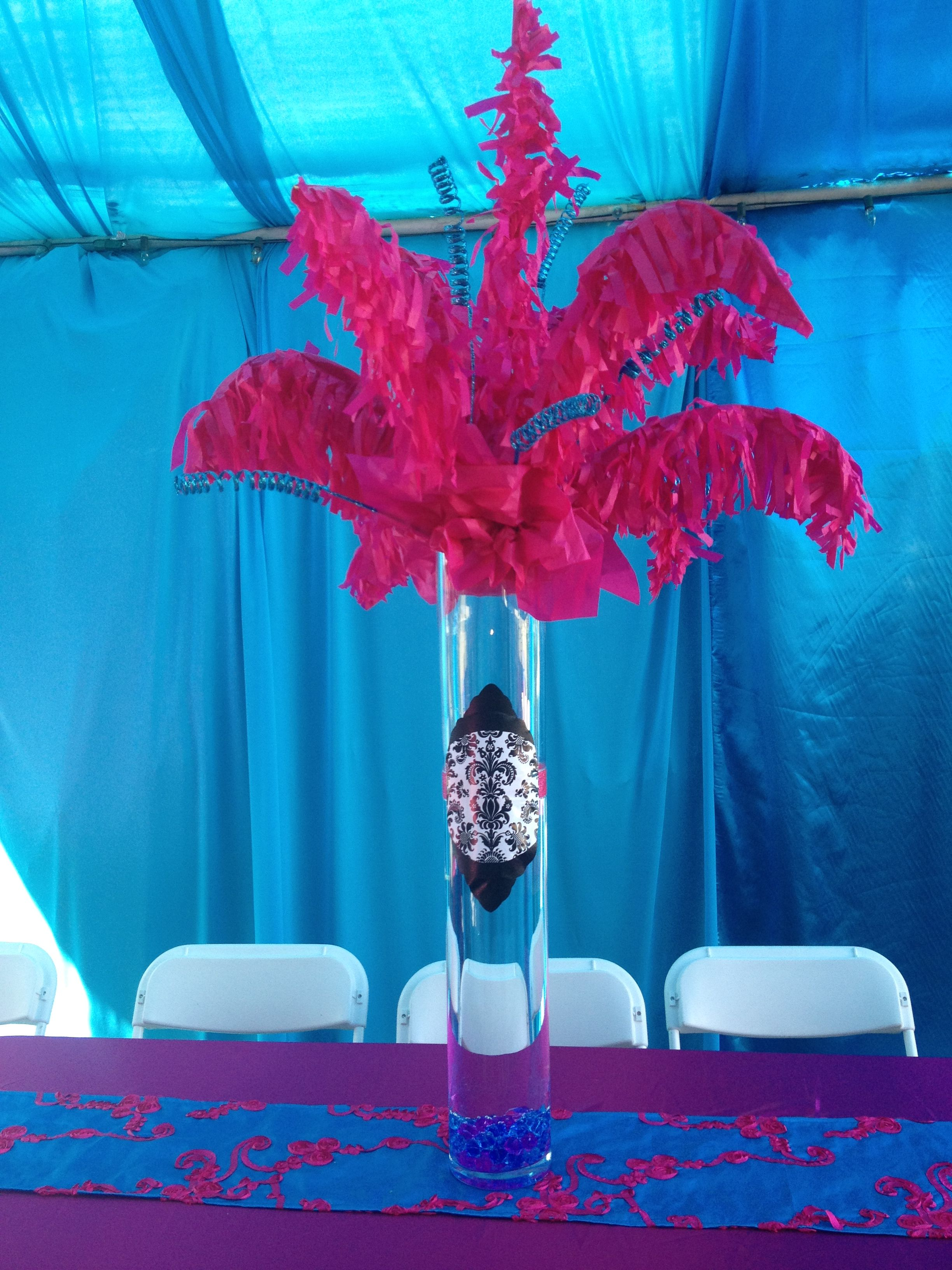 centerpiece for 10th birthday party fake ostrich feathers made out rh pinterest com DIA De Los Muertos Tissue Paper Centerpieces Centerpiece Tissue Paper Lined