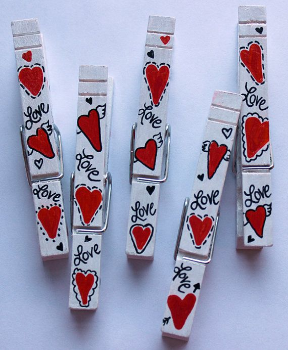 Special Valentine Hearts and Love Hand Painted by WillowStreetStudio, $7.50