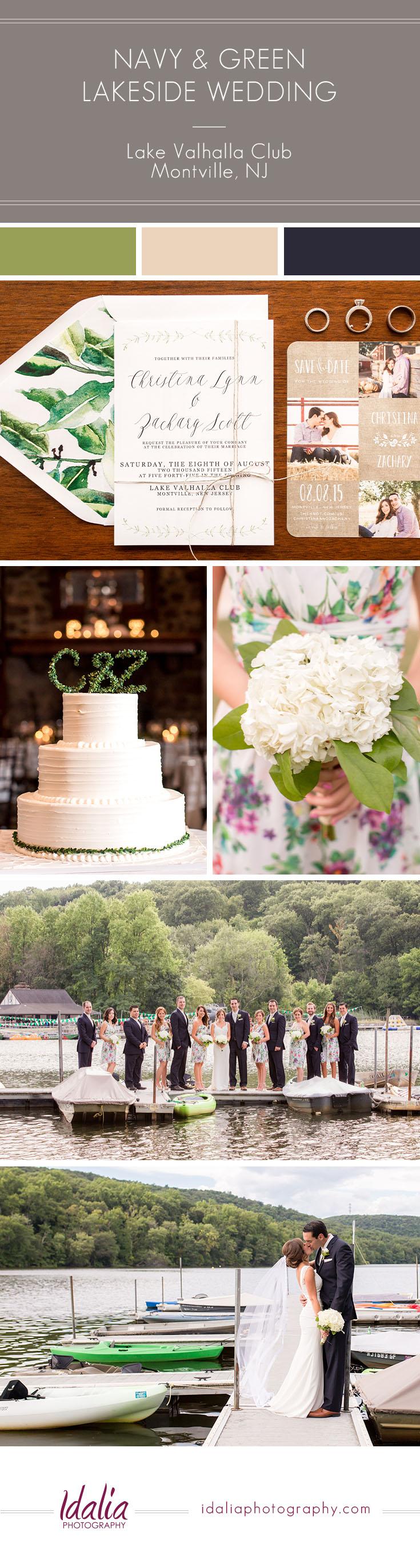 Navy and green lakeside nj wedding lake valhalla club montville