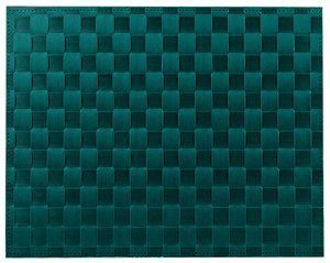 """Saleen Placemat - Woven Plastic - Dark Teal by Saleen. $8.00. Size: 12 × 16. Dimensions: 15¾""""L × 12¼""""W. This placemat is made of a woven plastic braiding material which looks and feels like natural g.... Colour/Pattern: Dark teal (deep sea blue). Sold individually. This placemat is made of a woven plastic braiding material which looks and feels like natural grown material, yet is of food quality. Its smooth finish is hygienic, impervious to bacterial growth, and dishwashe..."""