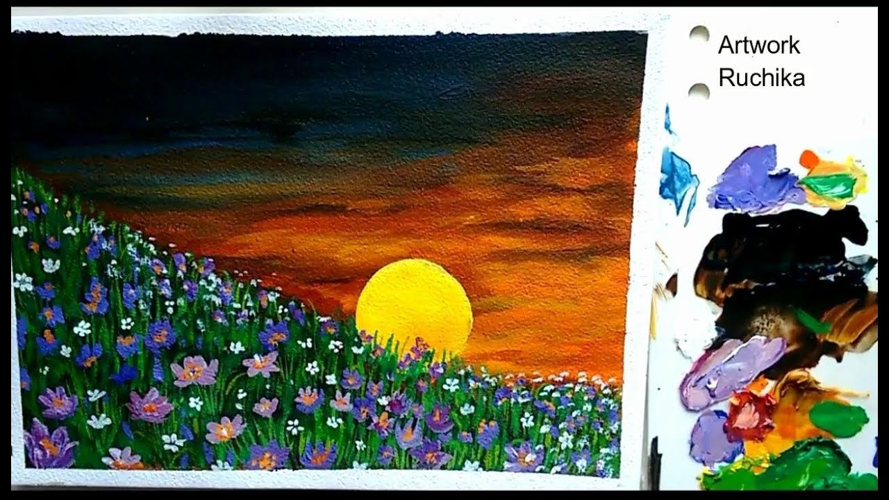 Beginners Painting Sunset In Valley Of Flowers Acrylic Painting Painting Sunrise Painting Landscape Paintings