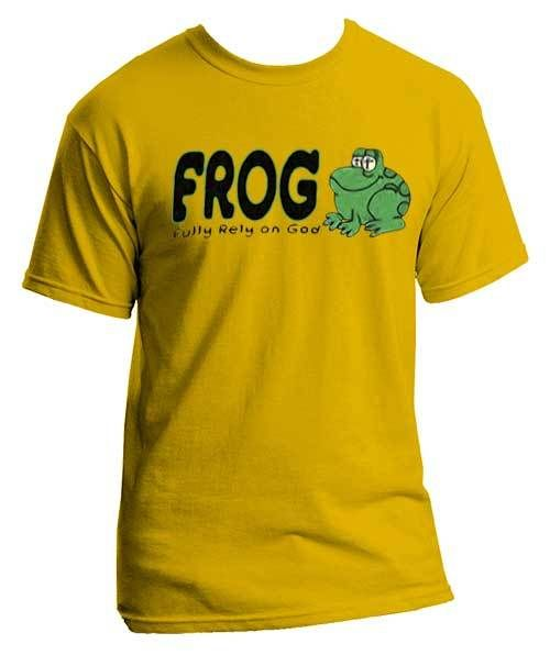 Peace Be With U - FROG - Fully Rely On God -Youth Christian Shirt, $14.99 (http://www.peacebewithu.com/frog-fully-rely-on-god-youth-christian-shirt/)