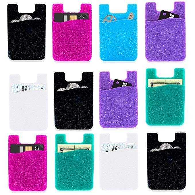 new concept c1096 6bb93 Phone Card Holder Wallet iPhone Android 8 PCs Pack - Stick On Sticky ...