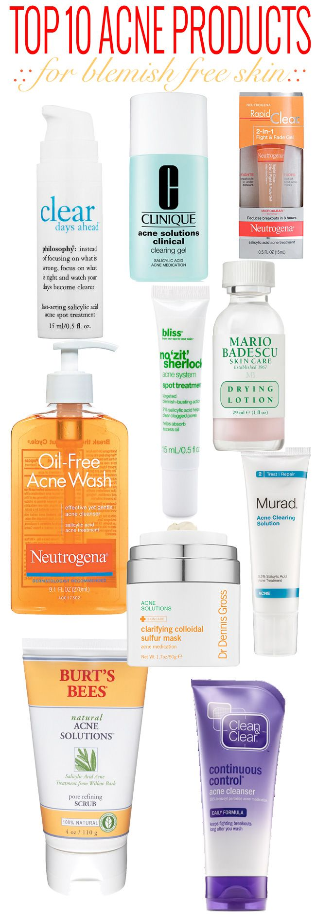 Top 10 Acne Products. Best acne products, Acne skin