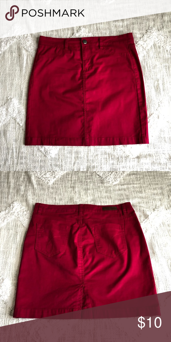 df099977fd Calvin Klein Denim Skirt Women's Calvin Klein Jeans Denim Skirt in size 30  (size 10) Color is more of a candy apple red mixed with a slight shade of  hot ...