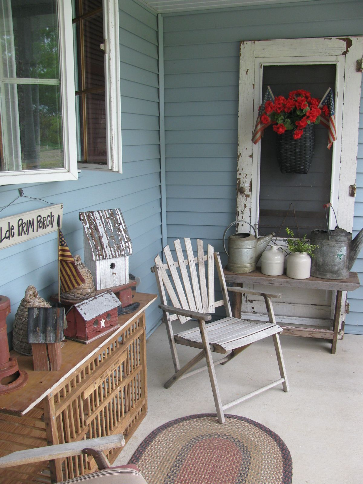 Primitive country front porch decor by gainers creek for Country porch catalog