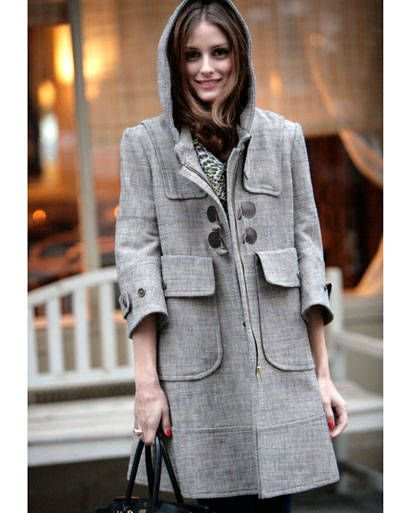 Grey coat with hoodie