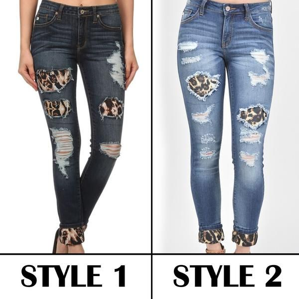 Wild Thing Distressed Skinny Jeans With Leopard Patches Skinny Jeans Distressed Skinny Jeans Skinny