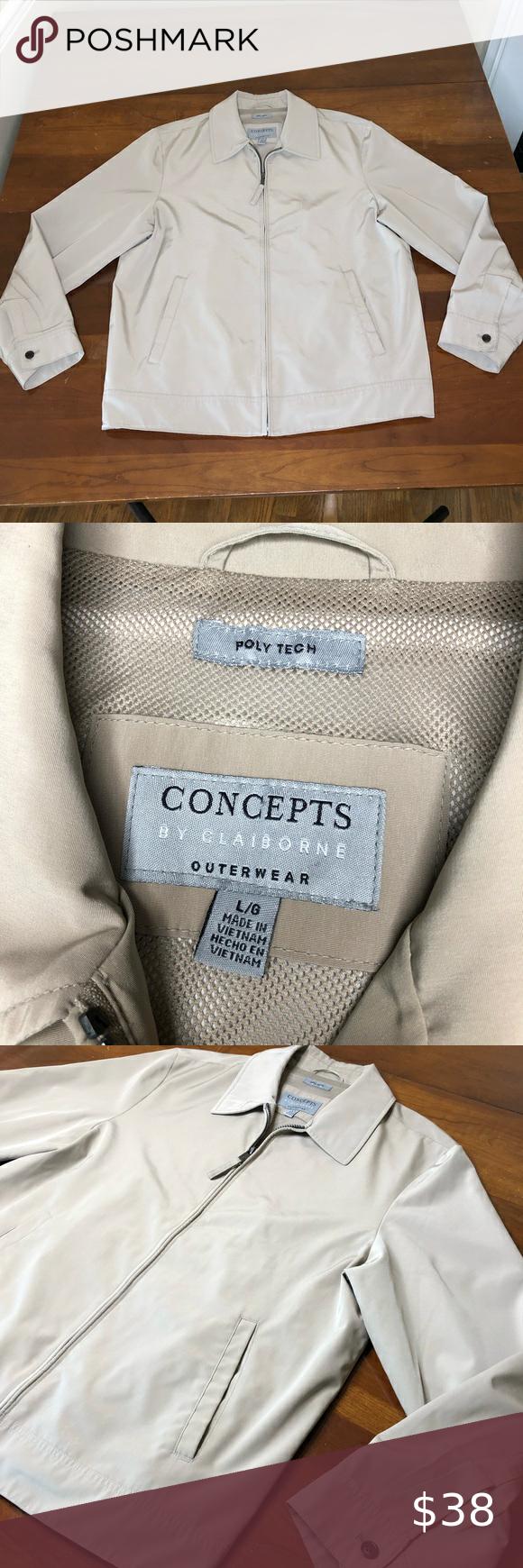 Concepts By Claiborne Men S Jacket Concepts By Claiborne Men S Outerwear Jacket Poly Tech Dress Casual Jacket Outerwear Jackets Lightweight Shirts Khaki Color [ 1740 x 580 Pixel ]