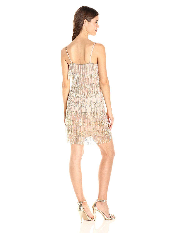 aba4ebd33e9 Adrianna Papell Women s Spaghetti-Strap Beaded Dress With Fringe ...