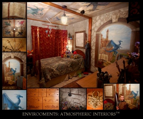 medieval themed castle bedroom with dragon motif my