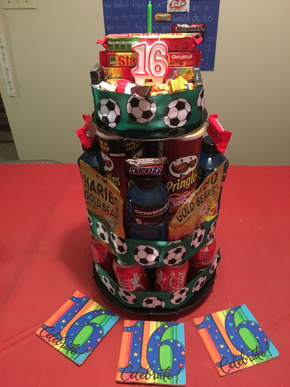 Candy snack cake for a teenage boys 16th birthday boy